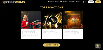Casino Midas promotions page