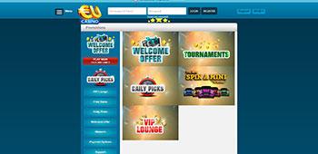 EU Casino promotions page