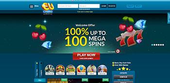 EU Casino welcome page