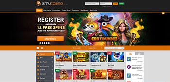 Emu Casino homepage