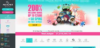 Miami Dice Casino homepage