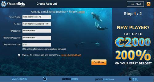 Creating an Account at OceanBets