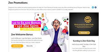 Playzee Casino promo page