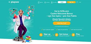 Playzee Casino welcome page