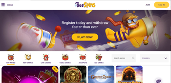 Bee Spins Casino Welcome Home Page