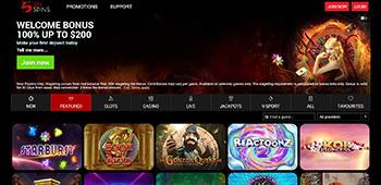 Sin Spins Casino homepage