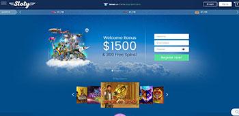 Sloty Casino homepage