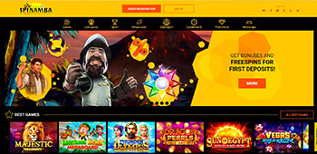 Spinamba Casino welcome page