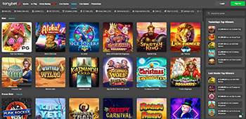 Tonybet Casino welcome page