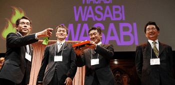 The wasabi fire alarm team celebrates their Ig Noble win